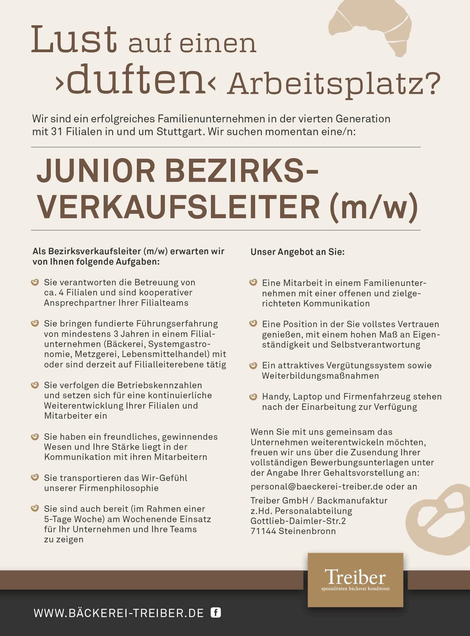 junior bezirksverkaufsleiter mw - Bewerbung Backerei Aushilfe
